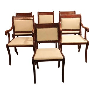 Six Vintage Regency Style Dining Chairs With White Faux Leather Upholstery For Sale