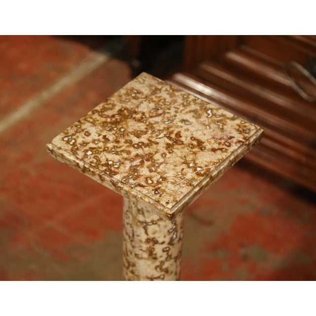 Stone 19th Century French Red and Beige Marble Pedestal Column With Square Swivel Top For Sale - Image 7 of 8