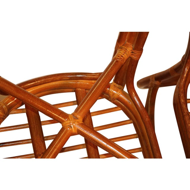 Sheaf of Wheat Rattan Dining Table and Chairs For Sale - Image 4 of 11