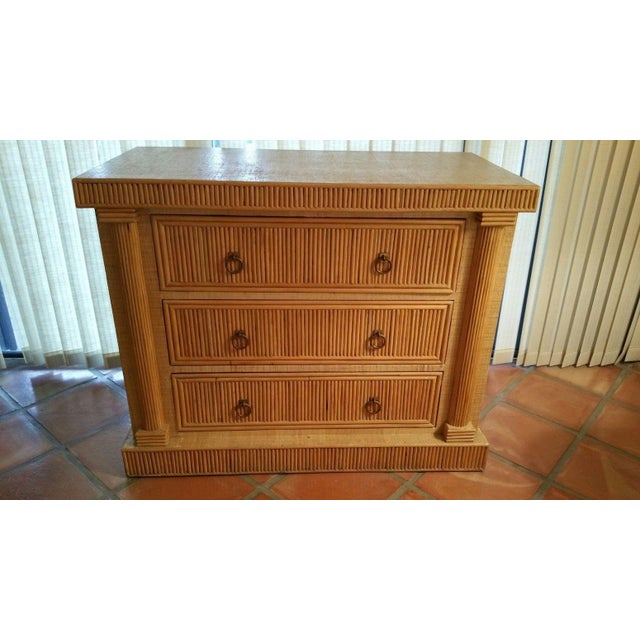 Rattan Mid-Century 70's French Empire Style Godfather Rattan Chest of Drawers For Sale - Image 7 of 7