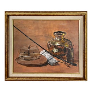 Mid 20th Century Still Life With Riding Crop, Hat, and Newspaper Oil Painting, Framed For Sale