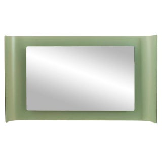 1960s Italian Mid-Century Fontana Arte Frosted Glass Wall Mirror For Sale