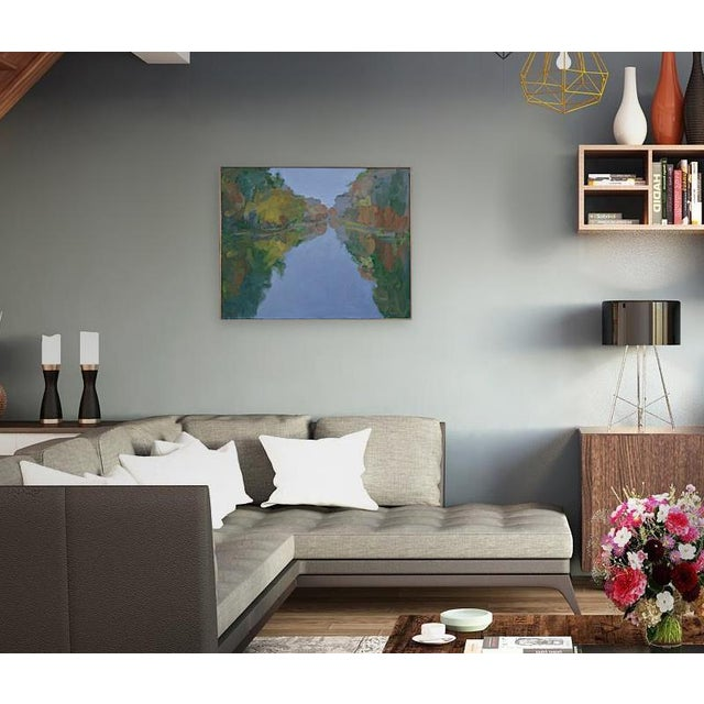 """Painted in 2019, this is professional grade acrylic paint on a 24"""" high by 30"""" wide, 1.5"""" deep canvas. It has a simple..."""