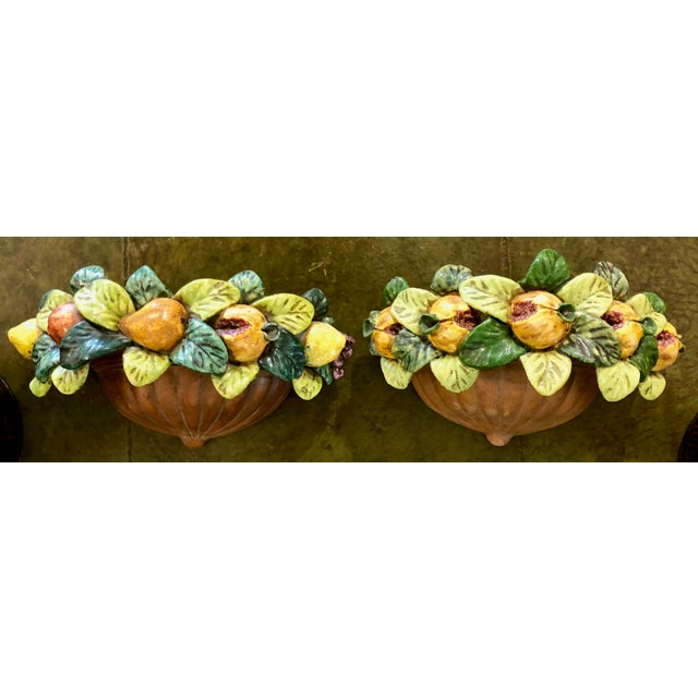 Ceramic Pair of Italian Terracotta Wall Pockets with Glazed Fruit Decoration For Sale - Image 7 of 7