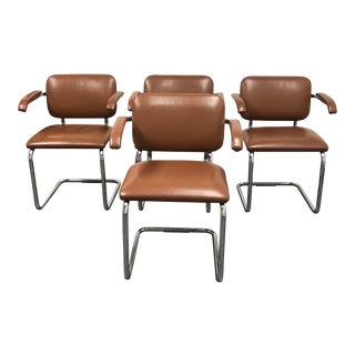 Marcel Breuer Leather Cesca Arm Chairs - Set of 4