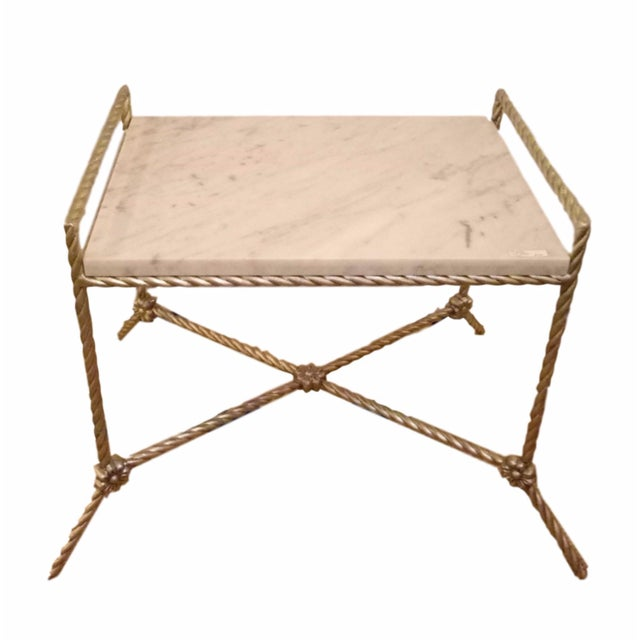 Twisted Silver Gilt Metal Bench or Side Table For Sale In New York - Image 6 of 6