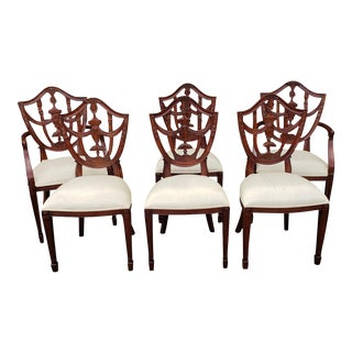 Set 6 Mahogany Maitland Smith Hepplewhite Style Shield Back Dining Room Chairs 4031-184 For Sale