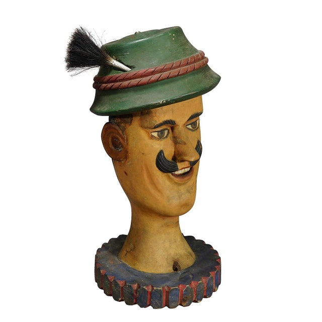 Antique Naive Woodcarving Sculpture of a Folksy Bavarian Man For Sale - Image 9 of 9