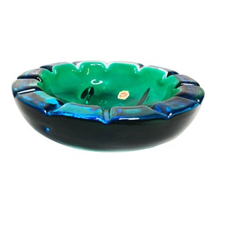 Authentic Mid Century Murano Sommerso Art Glass Deep Blue / Green Bowl, Hand Made in Italy For Sale