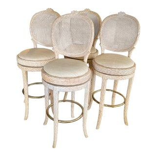 Vintage Italian Faux Bois Bar Stools - Set of 4 For Sale