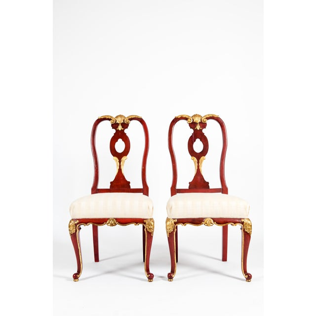 Vintage Wood Framed With Gilt Detail Side Chairs - a Pair For Sale - Image 13 of 13
