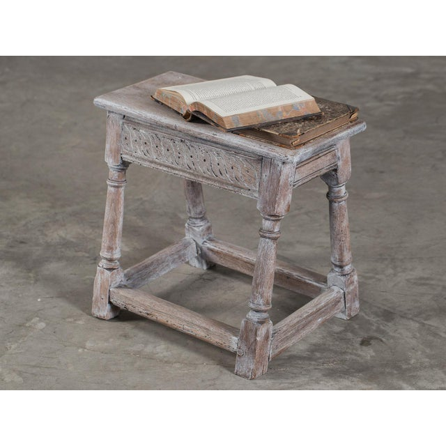 Antique English Limed Oak Joint Stool circa 1890 For Sale - Image 10 of 11