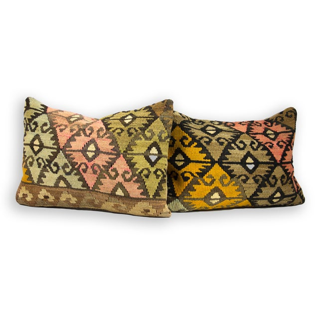 Vintage Lumbar Kilim Pillows - Pair - Image 2 of 3