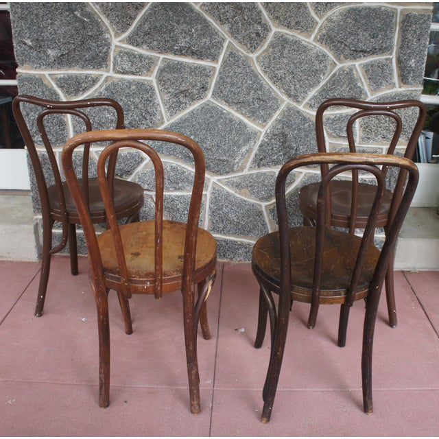 Gebruder Thonet 1940s Antique Thonet Model 18 Cafe Chairs - Set of 4 For Sale - Image 4 of 13