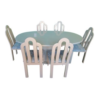 1980's Art Deco Revival Lacquer Dining Set - 7 Pieces For Sale