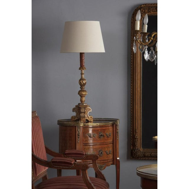 Brown Late 19th Century Italian Painted Gilt Wooden Lamps - a Pair For Sale - Image 8 of 13