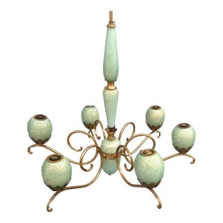 Seguso Style Brass and Murano Chandelier