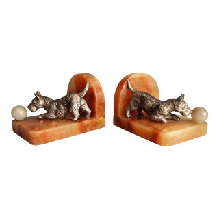 Art Deco Bronze Scottie Dog Bookends - a Pair