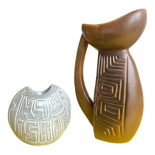 Vintage Mid Century Hebrew Ceramic Pitcher and Candle Votive For Sale