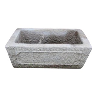 Hand Chiseled Stone Basin For Sale