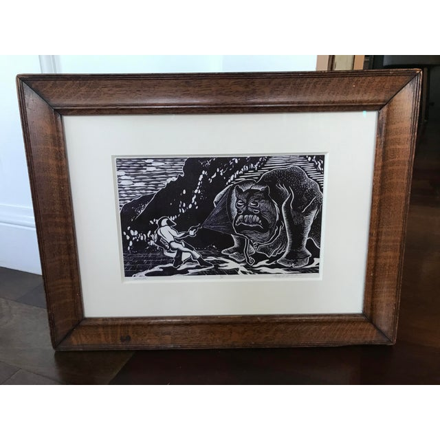 Lithograph Vintage Abstract Sci Fi Comic Block Print Lithograph For Sale - Image 7 of 8