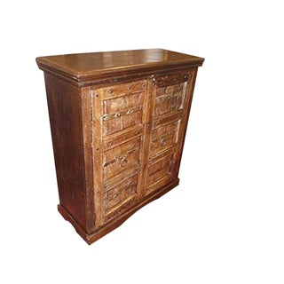 Antique Teak Indian Haveli Sideboard Chest Wine Cabinet For Sale