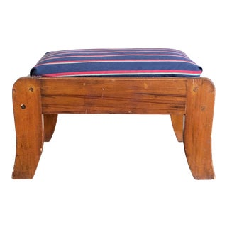Antique Blue Red Striped Upholstery Footstool For Sale