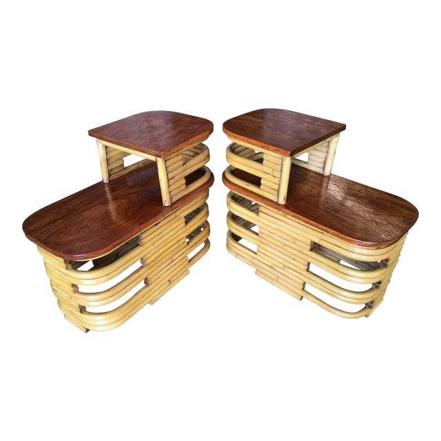 Stacked Rattan Side Table With Cut Outs - a Pair For Sale
