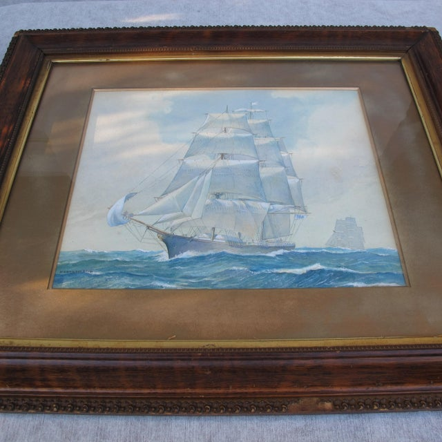 Framed Ship Watercolor Painting For Sale - Image 4 of 11
