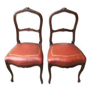 French Boudoir Leather Chairs - a Pair For Sale