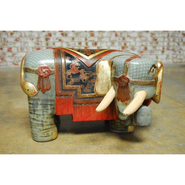 Chinese Carved Polychrome Elephant Stools - A Pair - Image 4 of 10