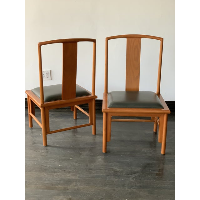 Asian 1980s Vintage Michael Taylor Baker Chinoiserie Style Dining Chairs- A Pair For Sale - Image 3 of 6