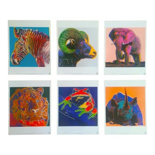 "Andy Warhol Estate Rare 1989 "" Endangered Species "" Collector's Lithograph Prints Portfolio - Set of 6"