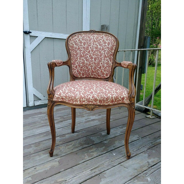 Vintage Louis XV French Carved Fruitwood Hardwood Arm Side Chair With Jacquard Upholstery For Sale - Image 12 of 13
