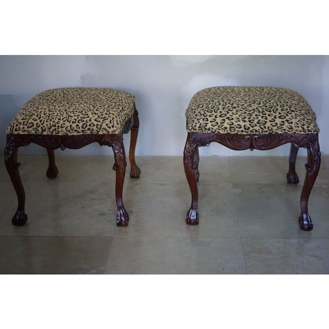 Hollywood Regency Mid-Century Leopard Stools - a Pair For Sale - Image 3 of 6