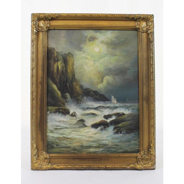 Late 19th Century Oil on Board Seascape Painting For Sale - Image 10 of 11