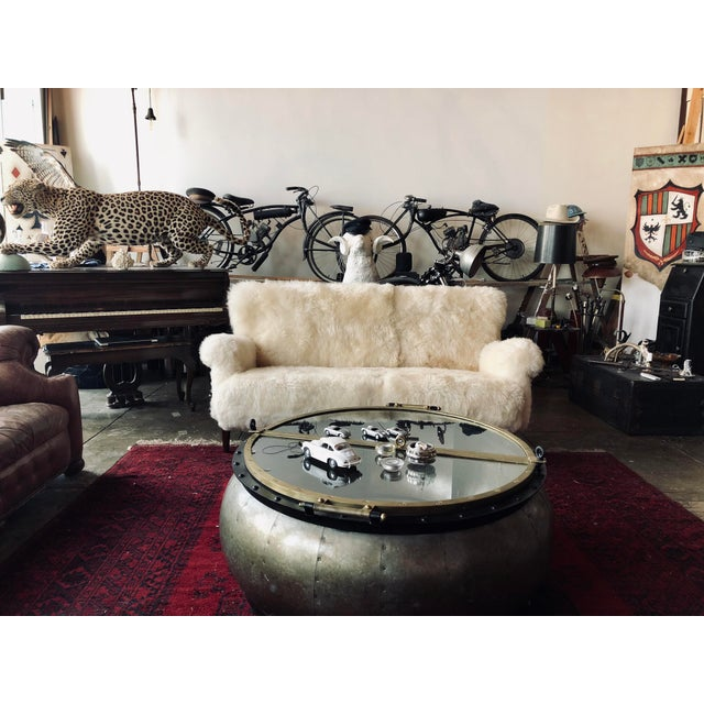 White Mongolian Wool Sofa For Sale - Image 12 of 13