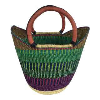 Bolga Ghana Green U Shopper Woven Basket For Sale