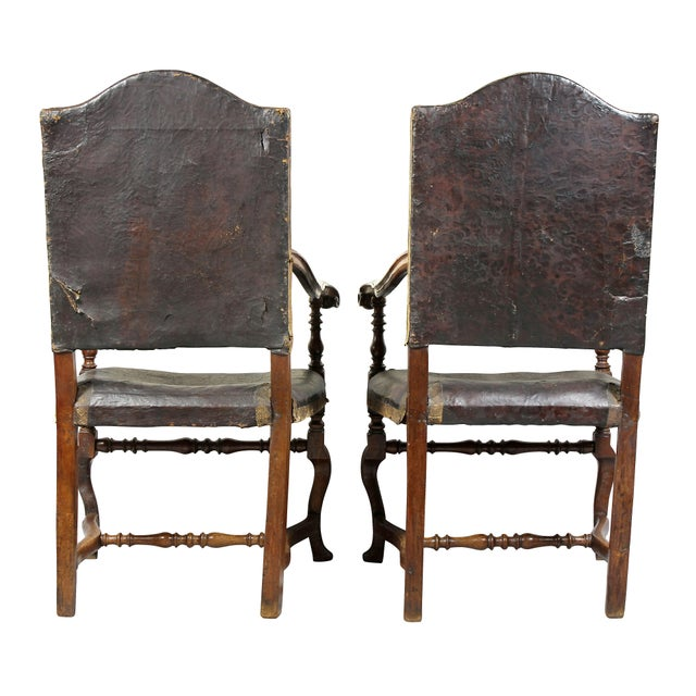 Italian Baroque Walnut Armchairs - a Pair For Sale - Image 10 of 11