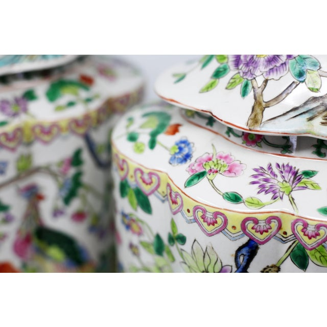 Ceramic Vintage Hand-Painted Scalloped Ginger Jars With Peacocks and Flowers - a Pair For Sale - Image 7 of 11