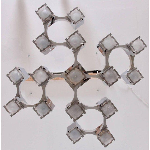 "Italian Gaetano Sciolari Chrome ""Cubic"" Chandelier For Sale - Image 3 of 8"