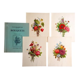 "Jean Louis Prevost "" Bouquets "" Rare Vintage 1942 Etching Tone French Botanical Floral Prints Folio - Set of 4 For Sale"
