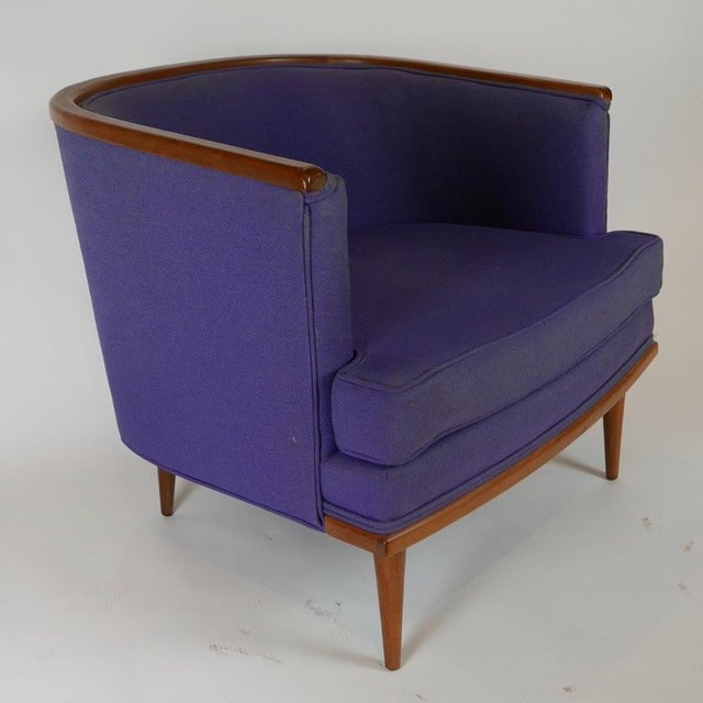 Pair of Milo Baughman Barrel Back Lounge Chairs With Walnut Detail For Sale In New York - Image 6 of 13