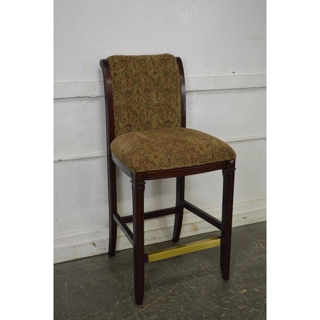Drexel Mahogany Frame & Upholstered Bar Stools - Set of 4 - Image 2 of 10