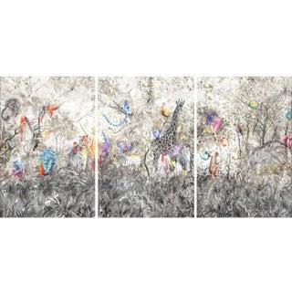 "Arcadia Animalia Jungle Scene ""Garden of Eden"" Triptych Print - 3 Pieces For Sale"
