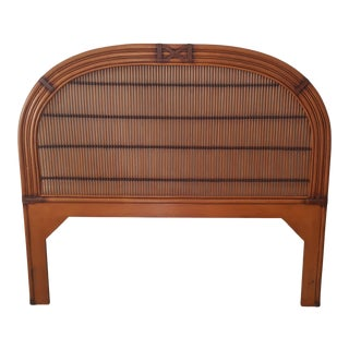 Late 20th Century Burnt Split Bamboo and Rattan Round Shaped Queen Headboard For Sale