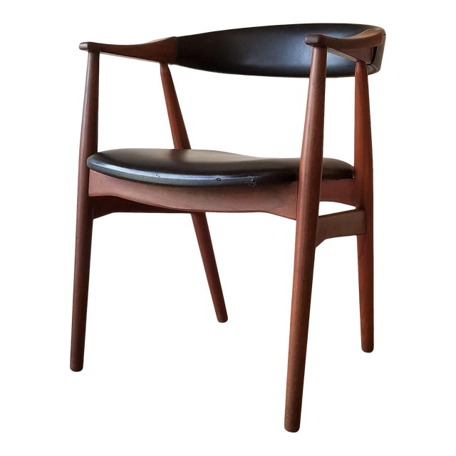 Thomas Harlev Model 213 Side Chair in Teak and Black Leatherette for Farstrup Møbler For Sale