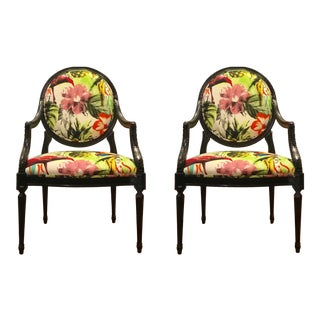 "Currey & Co. ""Antoinette"" Carved Black Frame Chairs - a Pair For Sale"