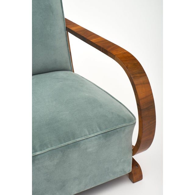 Turquoise Art Deco Austrian Armchairs For Sale - Image 8 of 11