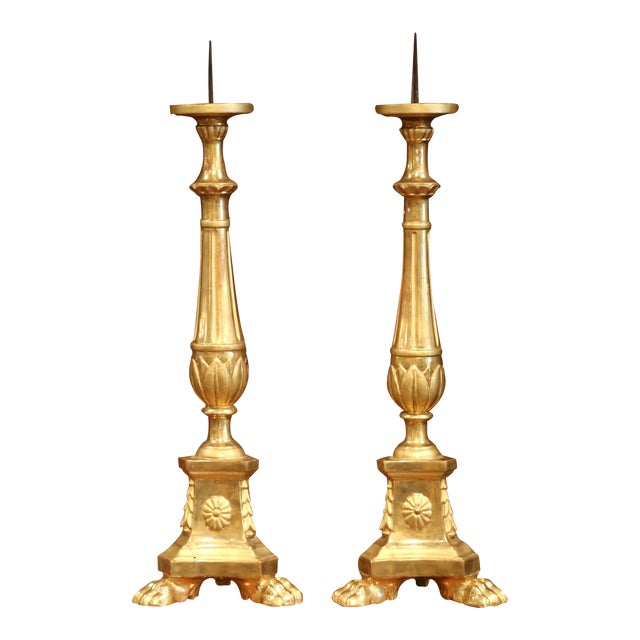 19th Century Italian Carved Giltwood Cathedral Candlesticks - a Pair For Sale